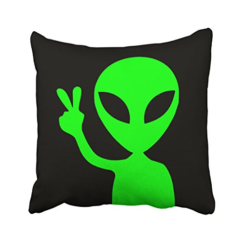 Emvency Throw Pillow Covers Peace Sign Alien Pillowcases Polyester 20 X 20 Inch Square With Hidden Zipper Home Sofa Cushion Decorative Pillowcase