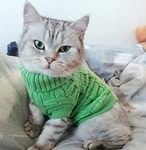 XZHH Ropa De Gato Caramelo Color Rayas Color Cálido Invierno Gato Punto Suéter Mascota Pullover Cat Ropa L Verde: Amazon.es: Productos para mascotas