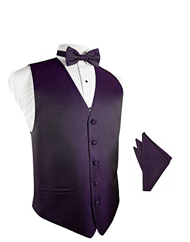 Plum Herringbone Tuxedo Vest with Bowtie & Pocket Square Set ()