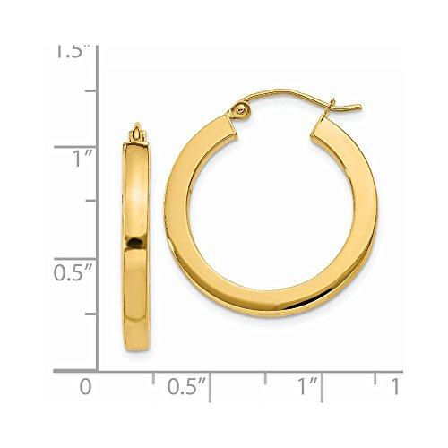 14k Yellow Gold 3mm Polished Square Hoop Earrings. 25mm Diameter. ()