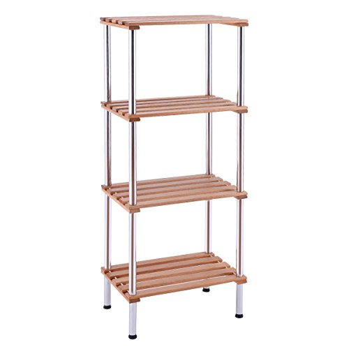 Giantex 4 Tiers Wood Slat Storage Display Rack Shelves Steel Frame Home Office Furniture (4 Tiers)