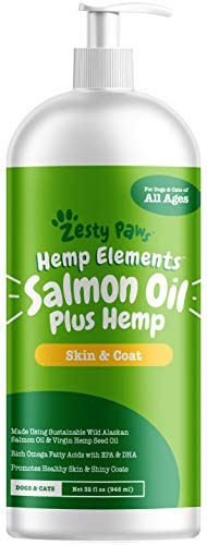 Pure Wild Alaskan Salmon Oil with Hemp for Dogs & Cats - Omega 3 & 6 Fish Oil Pet Supplement with EPA & DHA - Anti Itching Skin & Coat Care + Hip & Joint Health - Heart & Immune Support - 32 FL OZ