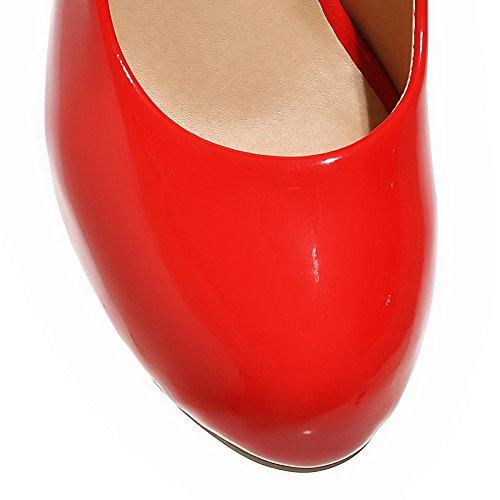 Balamasa Meisjes Laag Uitgesneden Boventonen Aantrek-ronde Laklederen Pumps-schoenen Rood