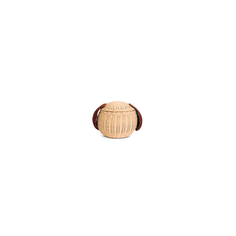 G6 COLLECTION Dog Rattan Storage Basket with Lid Decorative Bin Home Decor Hand Woven Shelf Organizer Cute Handmade Handcrafted Gift Art Decoration Artwork Wicker Puppy (Dog Head)
