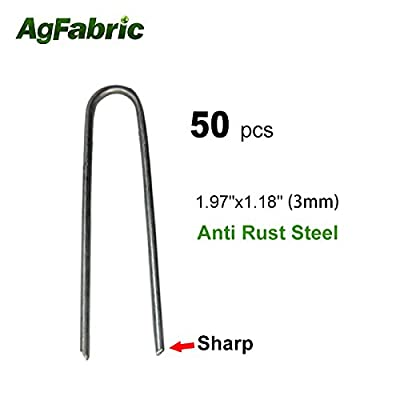 """Agfabric 50PACK 1.97"""" 9Guage Garden Landscape Staples Stakes Pins - USA Strong Pro Quality Built to Last Weed Barrier Fabric Ground Cover Soaker Hose Lawn Drippers Irrigation Tubing Wireless Invisible Dog Fence"""