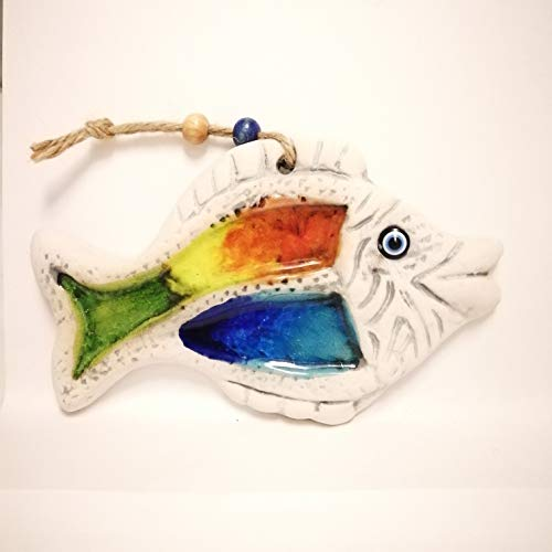 QPARTS Hand Made Fish Ceramic Wall Plaque Tile with Inlaid Glass (3 Color Wrasse)