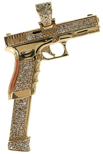 Traxnyc Genuine Stamped 14K Yellow Gold Real Round Diamonds Hip Hop Style Gun Charm Pendant (Golden Gun with Diamonds)