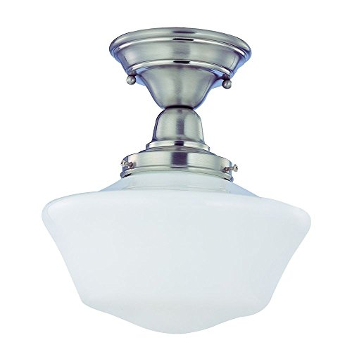 120v Line Voltage Round Canopy (10-Inch Schoolhouse Semi-Flushmount Ceiling Light in Satin Nickel)