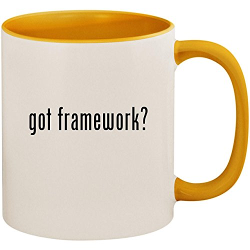 got framework? - 11oz Ceramic Colored Inside and Handle Coffee Mug Cup, Golden Yellow