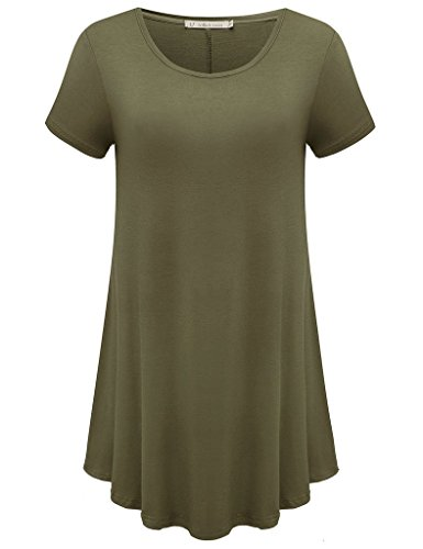 JollieLovin Women's Short Sleeve Loose Fit Flare Hem T Shirt Tunic Top (Army Green, L) (Best Pain Relief For Gastritis)