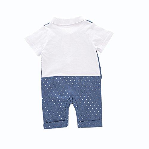 with Baby Bowtie Baby Size Boys' 18 Blue Gentleman Outfit Blue Onesie Fairy Sleeve Set Short 24M Romper 58SxW5R