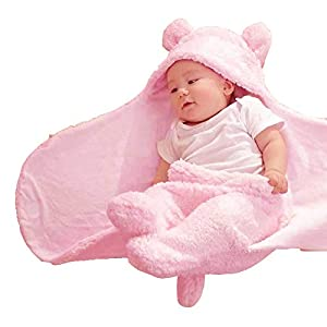 My NewBorn 3 in 1 Baby Blanket-Safety Bag-Sleeping Bag Towel Robe for Babies- Pink