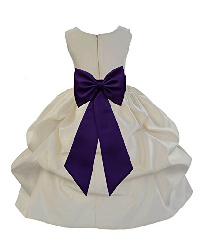 ekidsbridal Ivory Satin Bubble Pick-up Flower Girl Dress Communion Dresses Ball Gown 208T (Pickup Ball Gown)