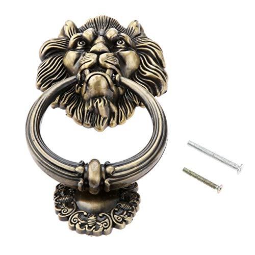 Kasuki Antique Furniture Handles Vintage Lion Head Drawer Cabinet Knobs and Handles Doorknockers Rings Pulls Furniture Hardware - (Color: A) ()