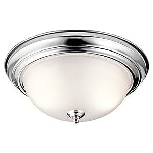 Amazon.com: Kichler 8112CH Flush Mount Round Glass Ceiling Lighting ...