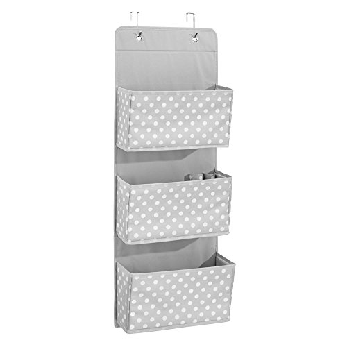 InterDesign ID jr Fabric Over Door Hanging Storage Organizer for Children's Clothing, Blankets, Toys, Bedding, Toiletries, Accessories – 3 Pocket, Gray/White(Polka Dot) by InterDesign
