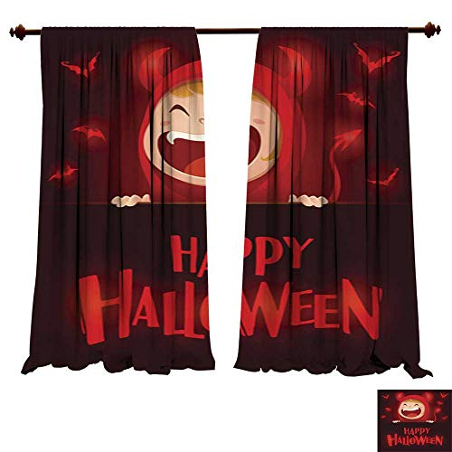 DragonBuildingMaterials Blackout Room Darkening Curtains Happy Halloween Red Devil Demon with Big Signboard Dark Background Insulating Room Darkening ()