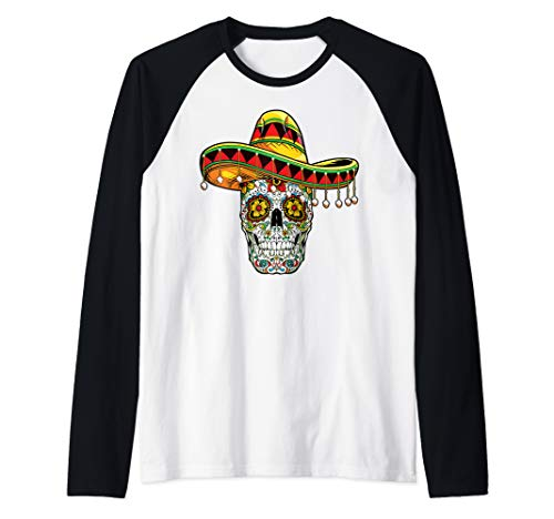 Day Of The Dead Sugar Skull Funny Cinco de Mayo Men Women Raglan Baseball -