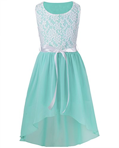iEFiEL Big Girls Kids Lace Flower High Low Chiffon Dress Wedding Bridesmaid (Turquoise Floral Skirt)