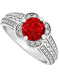 July Birthstone Ruby with Cubic Zirconia Criss Cross Fancy Fashion Ring 925 Sterling Silver