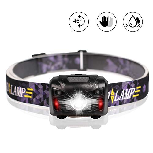 Headlamp, 500 Lumens White Cree LED Head Lamp Flashlight with Redlight and Motion Sensor Switch, Perfect for Running, Hiking, Lightweight, Waterproof, Adjustable Headband, 5 Display - 500 Led Lumen