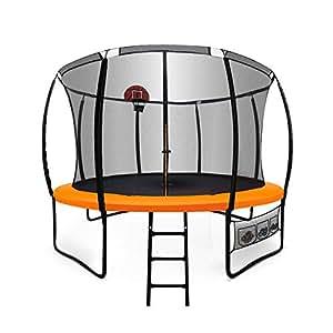 10ft Round Trampoline Basketball Set Safety Net Spring Pad Ladder