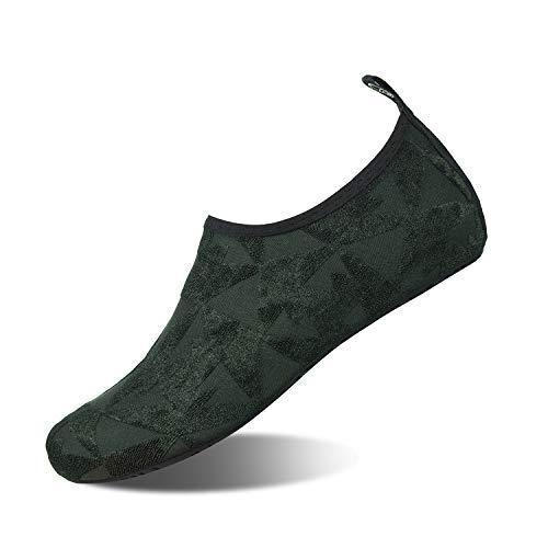 (Mens Womens Water Shoes Barefoot Beach Pool Shoes Quick-Dry Aqua Yoga Socks for Surf Swim Water Sport (Dark Green/T, 44/45EU) )