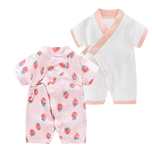JooNeng Newborn Baby 2-Pack Cotton Kimono Robe Romper One Piece Toddler Unisex Cute Short Sleeves Pajamas Sets,Pink Strawberry -