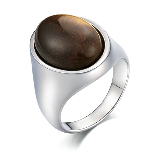 Aooaz Stainless Steel Ring for Men Polished-Finish Gemstone