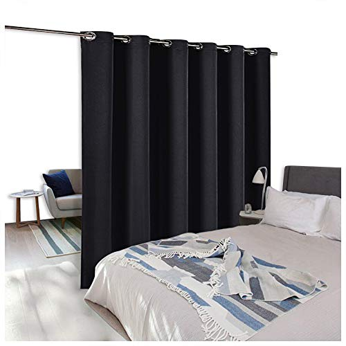 NICETOWN Room Divider Curtain Screen Partitions, Hide Clutter Separate Functions Grommet Top Portable Room Divider Screen Curtain Panel for Bedroom (1 Piece, 8ft Tall x 10ft Wide, Black)