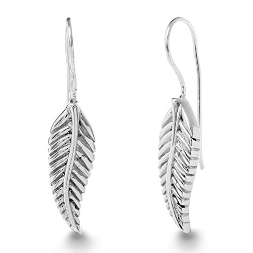 (WILLOWBIRD Leaf Drop French Wire Earrings for Women In Oxidized 925 Sterling Silver)