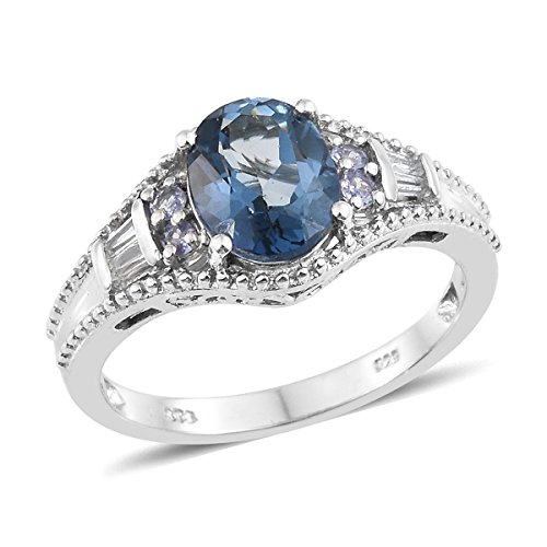 925 Sterling Silver Platinum Plated 3 Cttw Oval Mystic Topaz, Multi Gemstone Gift Ring For Women Size - Mystic Platinum Topaz
