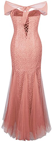 fashions Mermaid Halter Evening Beaded Angel Bateau Mesh Women's Dress Orange dqAYT