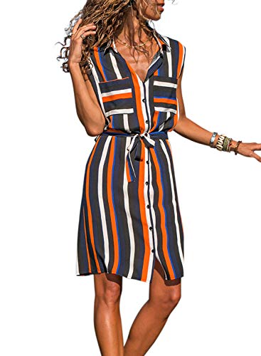 Sleeveless Belted Shirt Dress - Sidefeel Women Striped Button Down Pocket Shirt Mini Dress with Belt Large Navy Blue