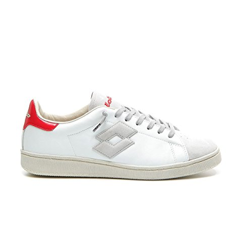 White Ss Uomo Front Sneakers Red Lotto Pelle Autograph 44 T4561 18 XTfx4wRq1F