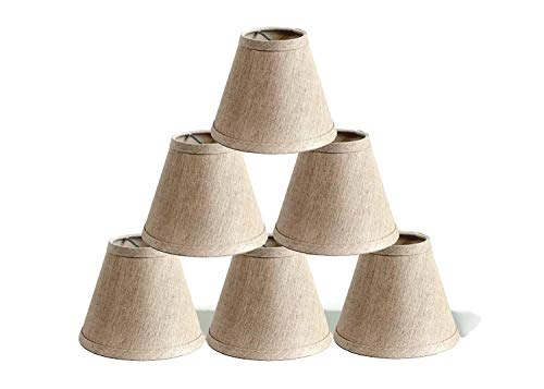 Urbanest Pure Linen Chandelier Lamp Shades, 6-inch, Hardback Clip On, Oatmeal(Set of 6) ()