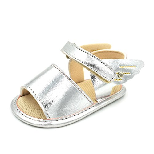 Fheaven Toddler Baby Summer Beach Sandals Infant Weave Wing Soft Soled Anti-Slip Shoes Silver