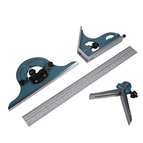 Combination Square Set, 4 Pcs Stainless Steel180 Degree Angle Combination Square Protractor Universal Bevel Ruler Set