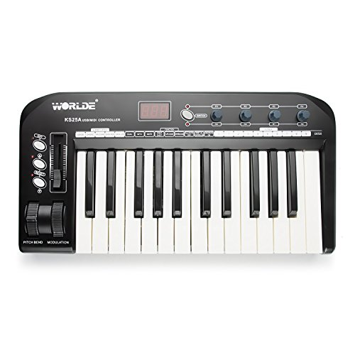 Worlde KS25A Multi-function USB MIDI Keyboard Controller with Digits LED Display by Worlde
