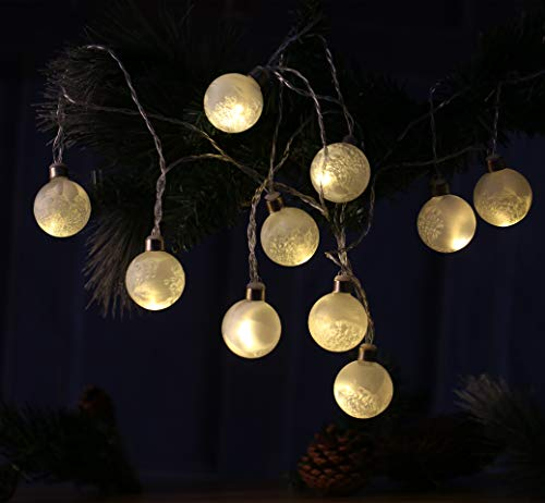 "Ball Gold Glass Light (Christmas Glass LED String Light 5 Feet/1.5m with Time Controller Winter Frost White Handmade Mouth Blown 10 Bulb Ball Strip Gift Present 1.6""/4cm Diameter Tree Decor Hanging Wedding Party Birthday)"