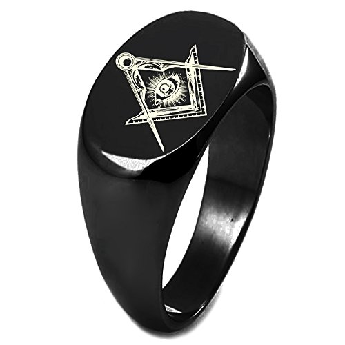 Black IP Plated Sterling Silver Freemasons Masonic Sacred Society Symbol Engraved Oval Flat Top Polished Ring, Size - 18k Dad Ring