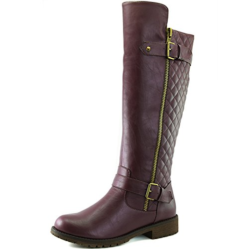 Women's DailyShoes Quilted Round toe Combat Rider Knee High Boot with Side Pocket, 8,Wine