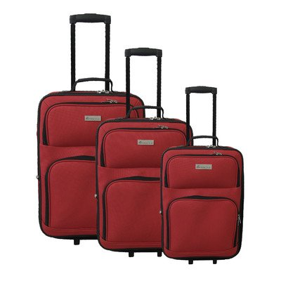 McBrine Luggage 3-Piece Soft-Sided Set (Red)