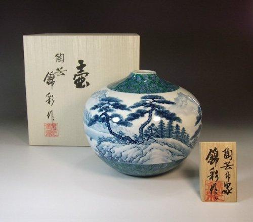 有田焼伊万里焼の陶器花瓶|高級贈答品|ギフト|記念品|贈り物|山水画陶芸家 藤井錦彩 B00IIHPBGU