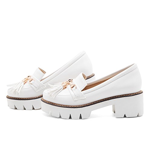 Show Shine Dames Casual Chunky Hak Platform Loafers Schoenen Wit
