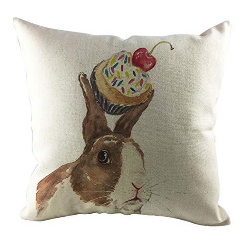 Cotton Crewel Pillow - Wenini Cotton Linen Throw Pillow Case Easter Rabbit Print Square Cushion Cover 18 X 18 Inch Pillow