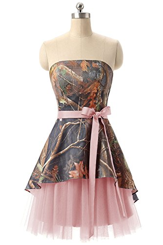 camo bridesmaid dresses with pink - 4