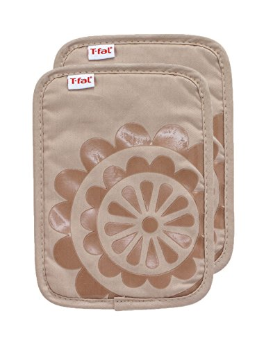 T-fal Textiles Silicone Printed Medallion 100% Cotton Twill Hot Pad Pot Holders, 9-inches x 6.75-inches, Set of 2, Sand