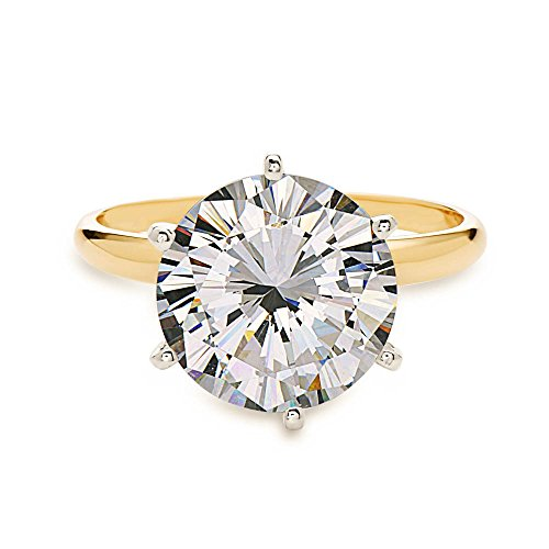 3.00 CT Round Brilliant Cut Solitaire Engagement Ring CZ set in Solid 14K Yellow Gold size 6.75 / 9.5mm (yellow-gold, 4) ()