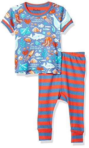 Hatley Baby Boys Organic Cotton Short Sleeve Mini Pajama Set, Ocean Friends, 3-6 Months